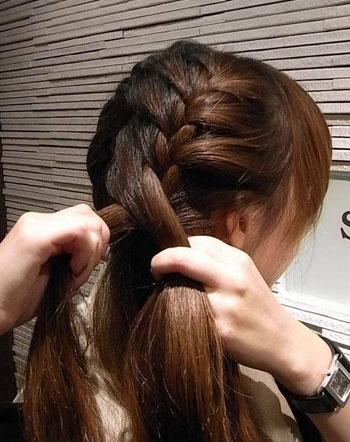 超水平蜈蚣辫盘发图解教程 扎头发网