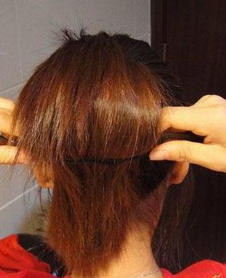 韩式盘头发的方法;; 海绵盘发器
