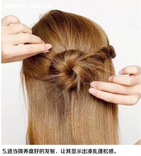 中长发简单盘发发型扎发图解(三)-扎头发网